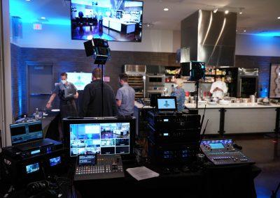 Harmon's AV crew setting up in Workshop
