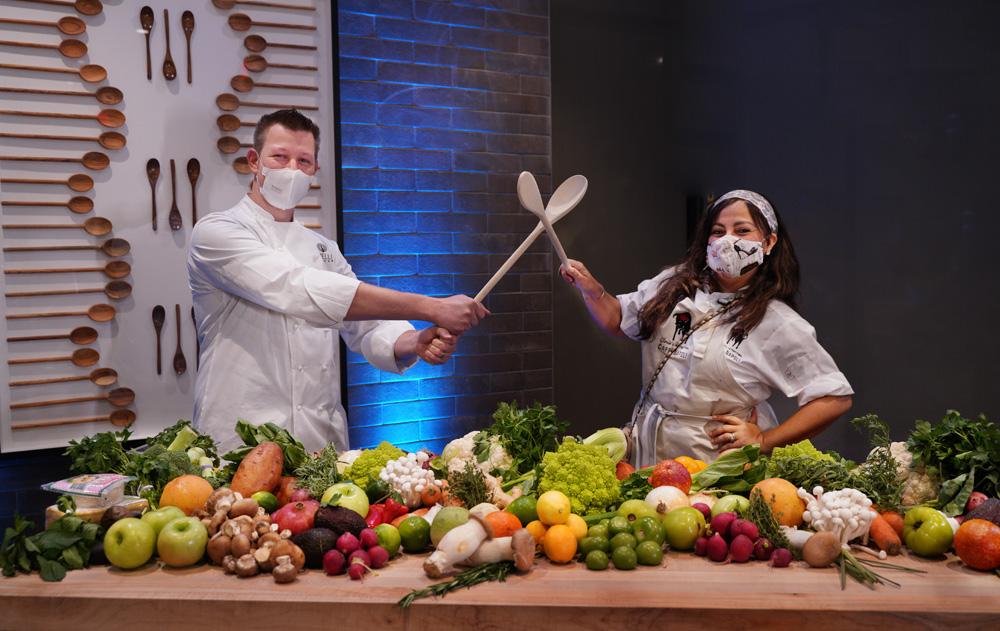 Chef Jason Goddard dueling with Chef Gloria Jordan