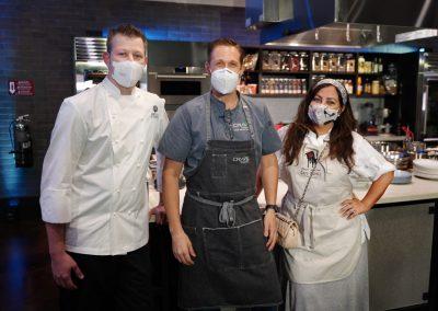 Chef Jason Goddard, Emcee Chef Brian Roland, Chef Gloria Jordan in Workshop