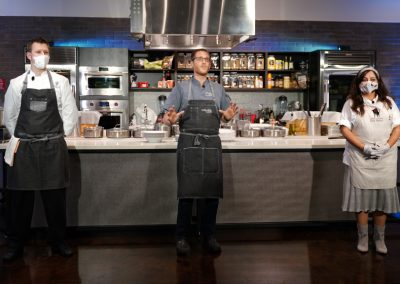Chef Jason Goddard, Emcee Chef Brian Roland, Chef Gloria Jordan introductions