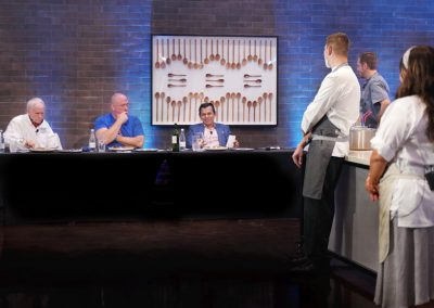 Chefs present their appetizer dishes to judges