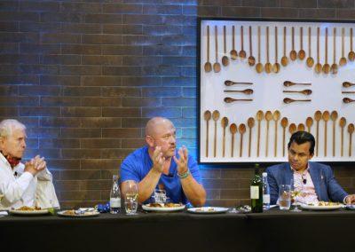 Judges provide feedback to contestants