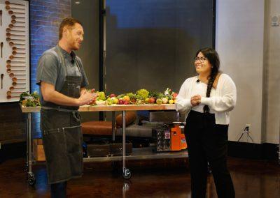 """CHEF Showdown emcee Chef Brian Roland interviews CHEF scholarship recipient, Estrellita """"Star"""" Diaz"""